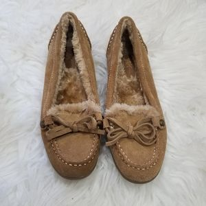 AK Anne Klein Fur Lined Moccasin Loafers